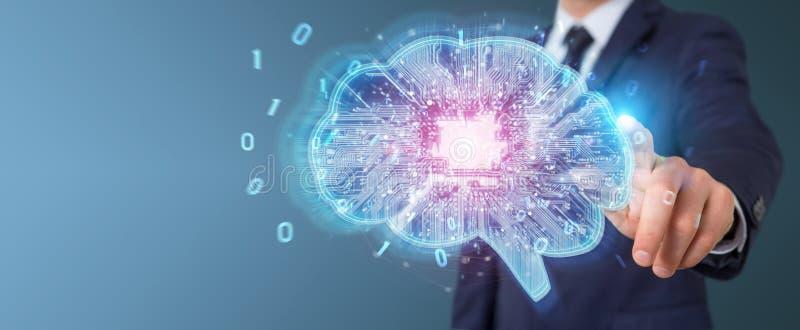 Geschäftsmann, der künstliche Intelligenz in einem digitalen Gehirn schafft stock abbildung