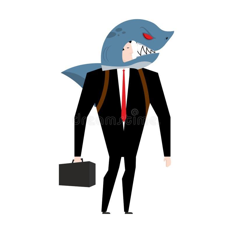Geschäftsmann in der Klage des Haifischs Allegorie des Geschäftshaifischs vektor abbildung
