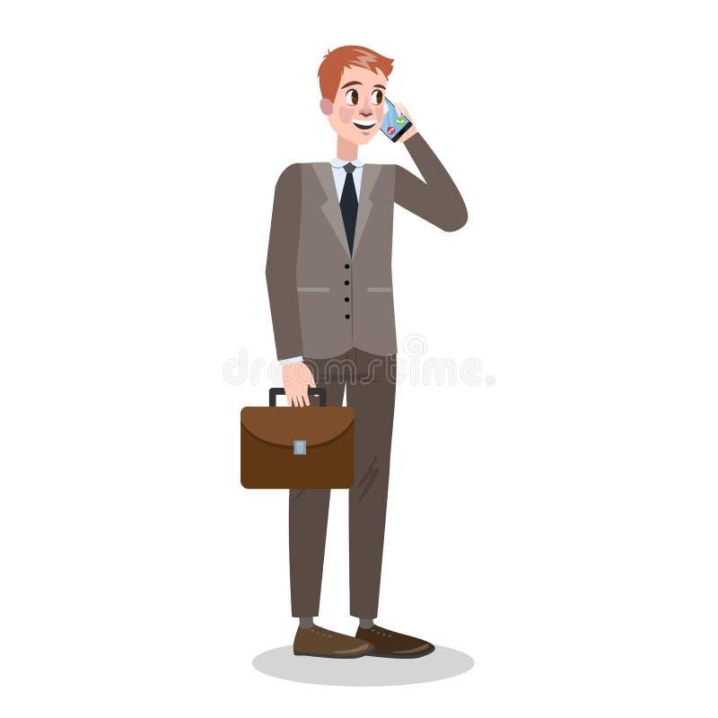 Geschäftsmann in der Klage, die auf dem Mobile steht und spricht lizenzfreie abbildung