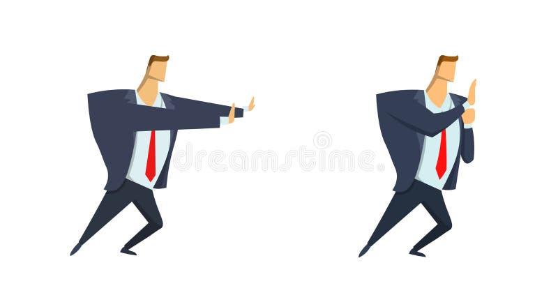 Geschäftsmann in der Klage, die etwas sich bewegt oder drückt Copyspace Satz von zwei Charakteren Flache Vektorillustration ein g vektor abbildung