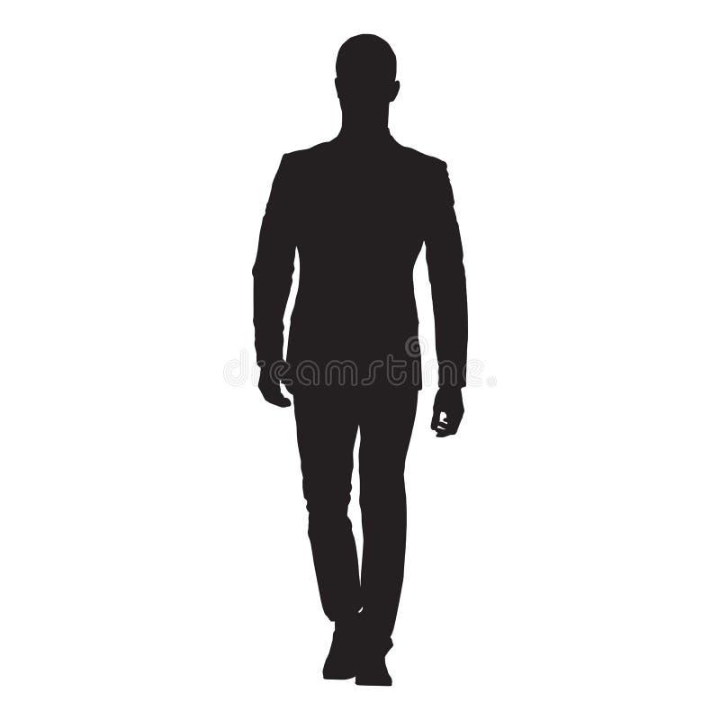Geschäftsmann in der Klage vorwärts gehend, lokalisiertes Vektorschattenbild vektor abbildung