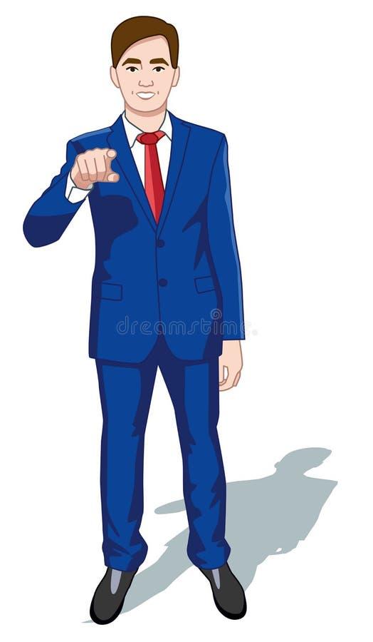 Geschäftsmann, der Knopf auf virtuellem Schirm bedrängt Mann, der auf futuristische Schnittstelle zeigt Die goldene Taste oder Er vektor abbildung