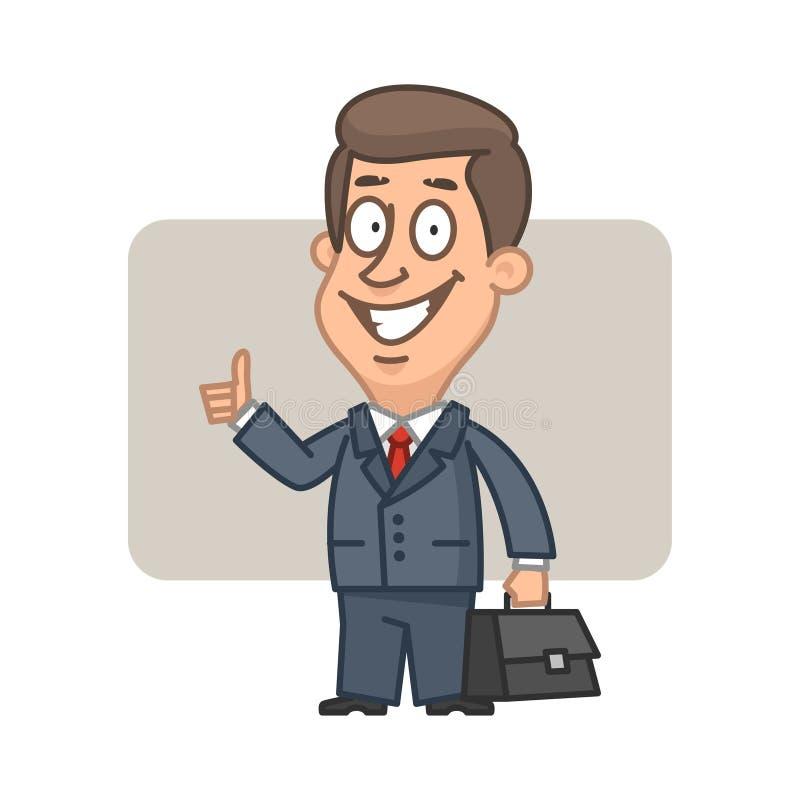 Geschäftsmann, der Koffer hält und sich Daumen zeigt stock abbildung