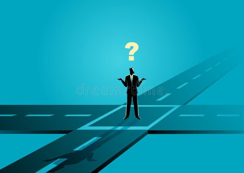 Geschäftsmann, der an der Kreuzung stehen oder Kreuzungen stock abbildung