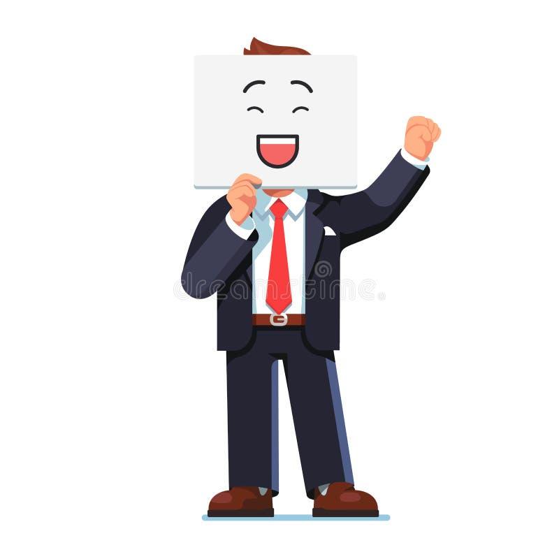 Geschäftsmann, der lächelnde Bildkarte über Gesicht hält vektor abbildung