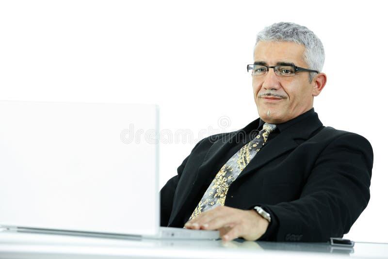 Geschäftsmann, der an Laptop arbeitet lizenzfreie stockfotografie