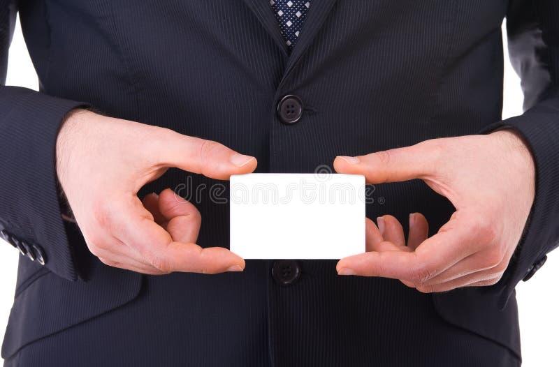 Geschäftsmann, der leere Karte zeigt. stockbilder