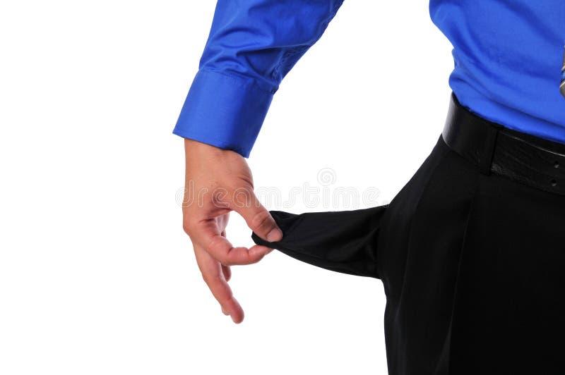 Geschäftsmann, der leere Tasche zeigt stockfoto