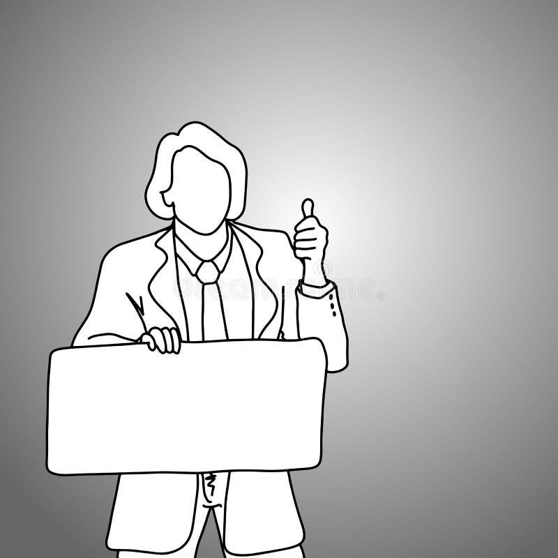 Geschäftsmann, der leeres Zeichen mit dem Daumen herauf Vektorillustration hält lizenzfreie abbildung