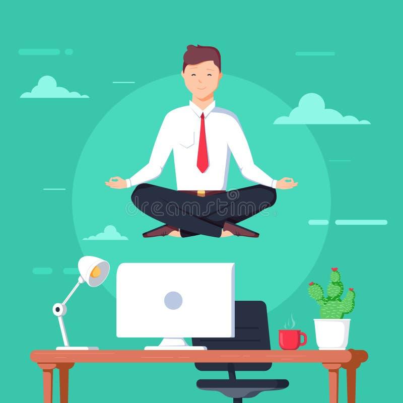 Geschäftsmann, der in der Lotoshaltung über Tabelle im Büroraum meditiert Beherrschen Sie das Handeln von Yoga und erhalten Sie R stock abbildung