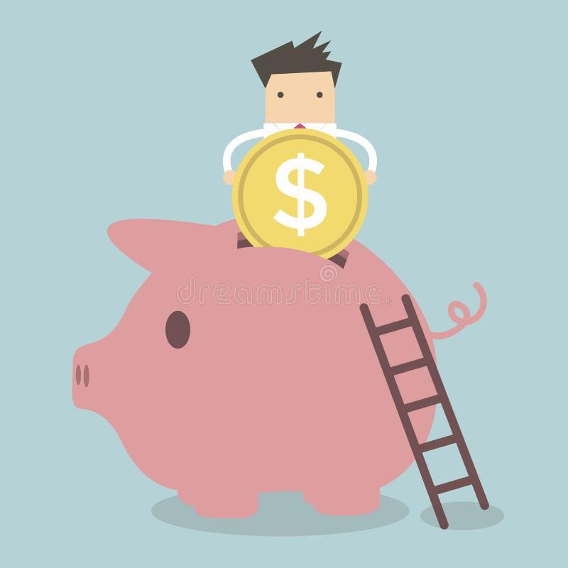 Geschäftsmann, der Münze in Piggy Querneigung setzt lizenzfreie abbildung