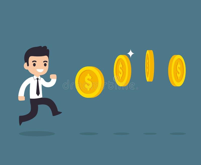 Geschäftsmann, der Münzen jagt stock abbildung