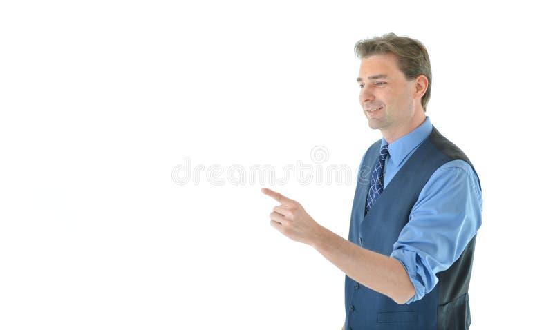 Geschäftsmann, der mit dem linken Arm und dem Finger gestikuliert stockbilder