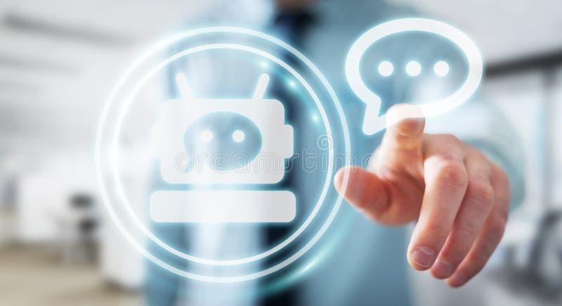 Geschäftsmann, der mit Wiedergabe chatbot Anwendung 3D plaudert lizenzfreie abbildung