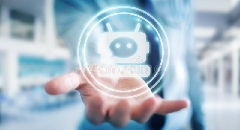 Geschäftsmann, der mit Wiedergabe chatbot Anwendung 3D plaudert stock abbildung