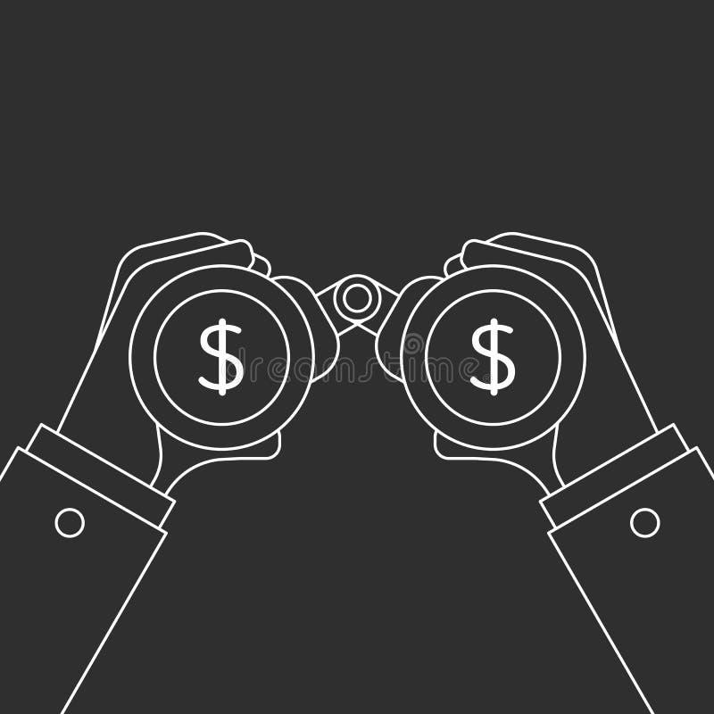 Geschäftsmann, der nach Geld sucht vektor abbildung