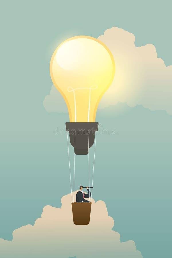 Geschäftsmann, der nach Gelegenheiten auf Birnenlampenballon sucht lizenzfreie abbildung