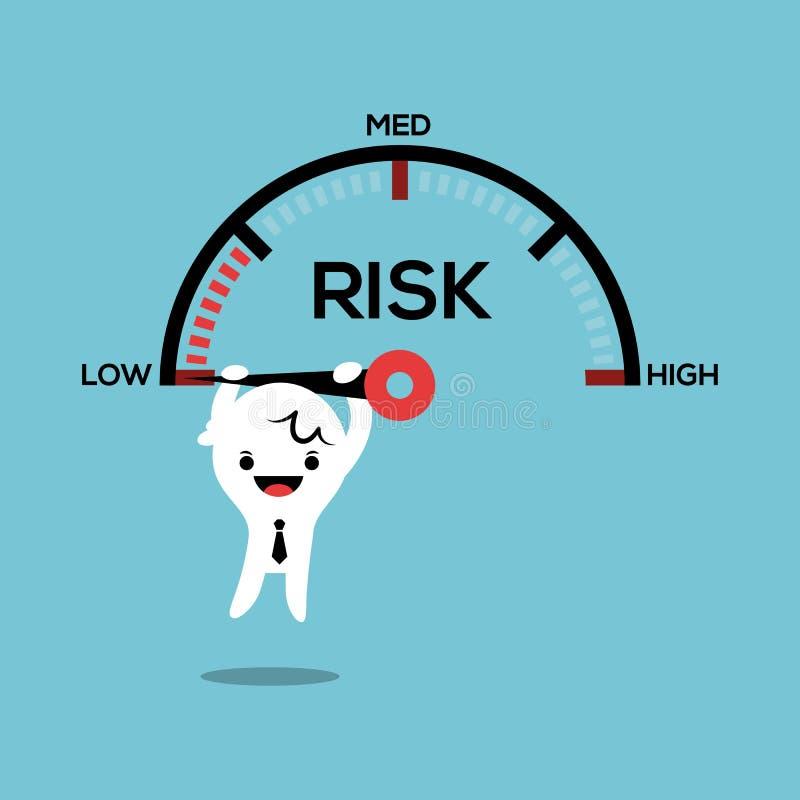 Geschäftsmann, der an Nadelgeschwindigkeitsmessgerät-Risikomanagement conce hängt lizenzfreie abbildung