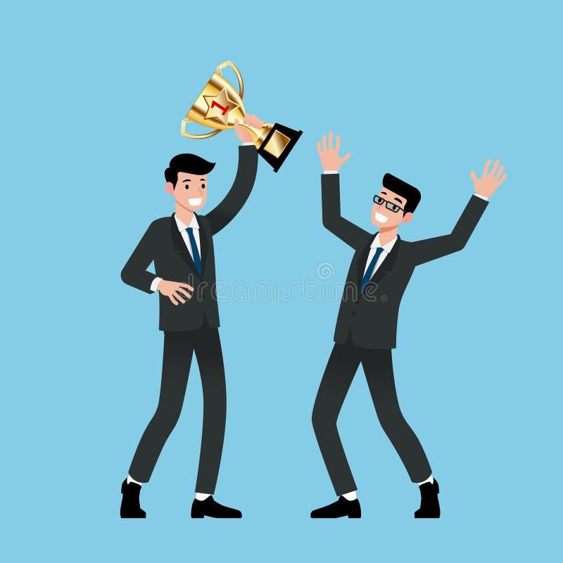 Geschäftsmann, der Nummer Eins-Goldtrophäe mit seinen Teamleistungen hält Vector Design des Gewinnens und des Zujubelns für erfol stock abbildung