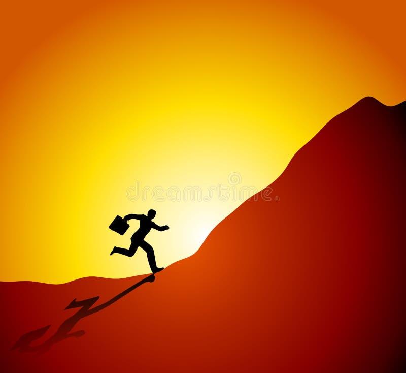 Geschäftsmann, der oben Berg laufen lässt stock abbildung