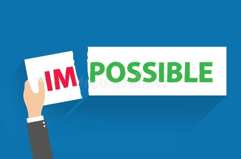 Geschäftsmann, der oben ein Zeichensagen zerreißt - unmöglich - begrifflich von Probleme und Herausforderungen erfolgreich überwi lizenzfreie abbildung
