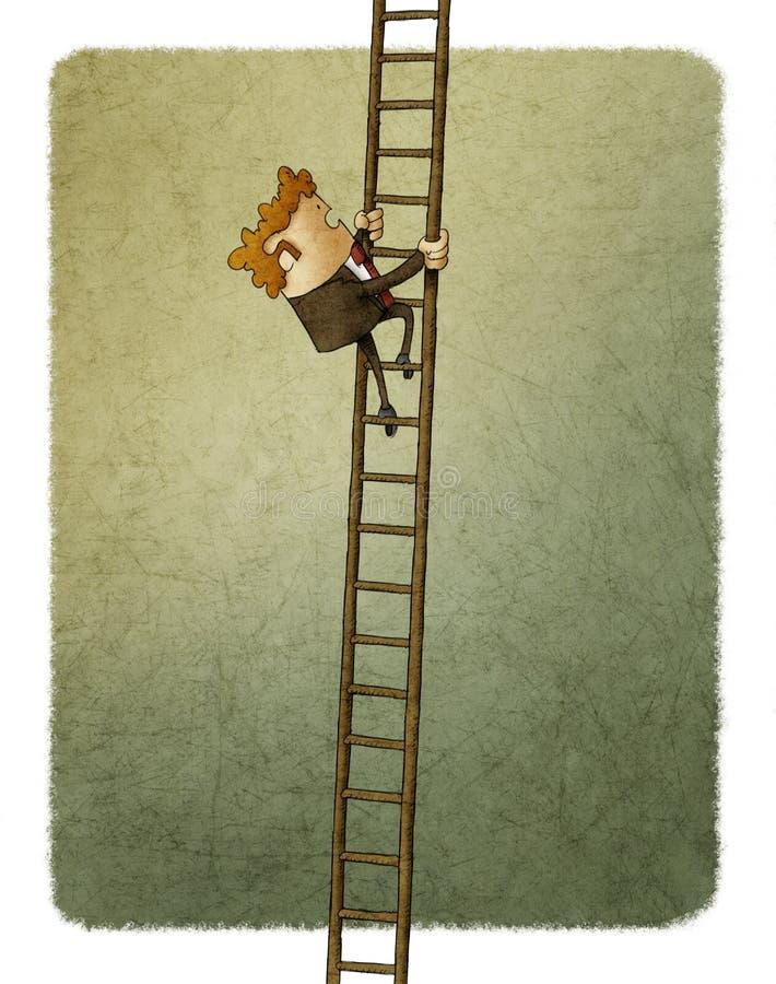 Geschäftsmann, der oben eine Strichleiter steigt stock abbildung