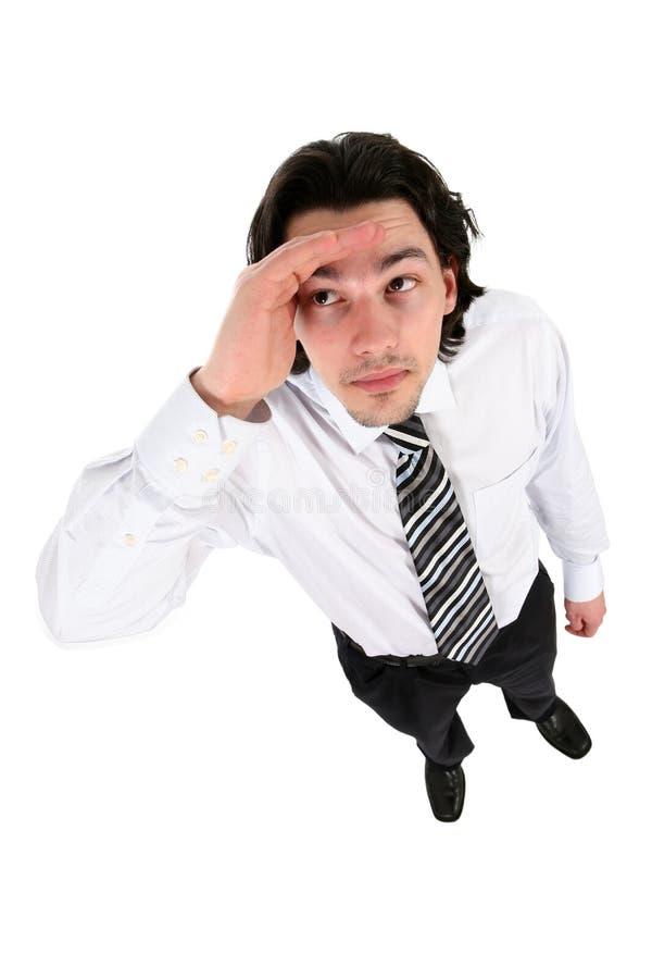 Geschäftsmann, der oben schaut lizenzfreies stockfoto