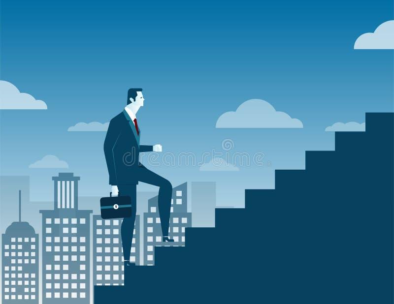 Geschäftsmann, der oben Treppenhauskonzept auf Stadthintergrund klettert stock abbildung