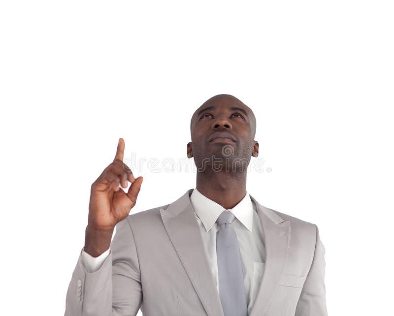 Geschäftsmann, der oben zeigt lizenzfreies stockbild