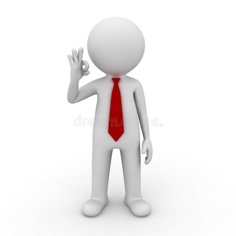 Geschäftsmann, der OKAYhandzeichen zeigt lizenzfreie abbildung