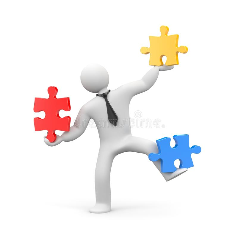 Geschäftsmann, der Puzzlen zusammenbaut vektor abbildung