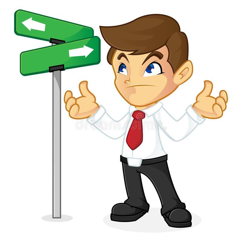 Geschäftsmann, der Richtung in Kreuzung wählt vektor abbildung