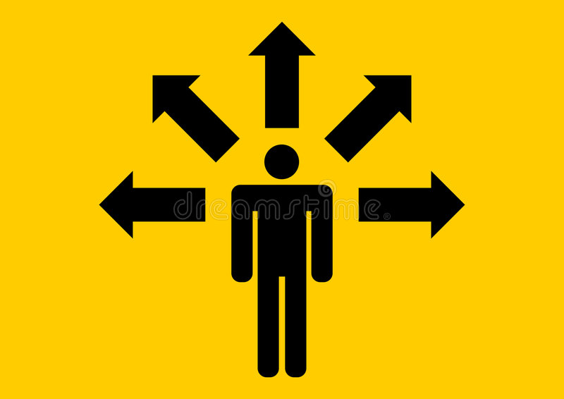 Geschäftsmann, der Richtung wählt vektor abbildung