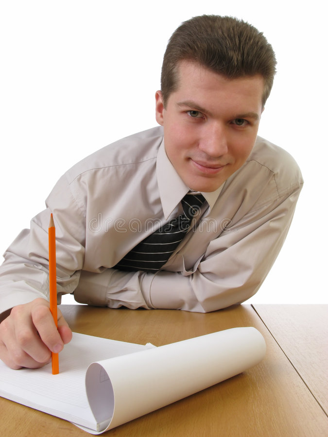 Geschäftsmann, der roten Bleistift anhält stockfotografie