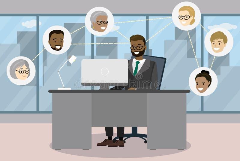 Geschäftsmann, der am Schreibtisch im modernen Büro und in Verbindung stehendem i sitzt stock abbildung