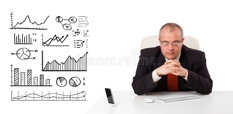 Geschäftsmann, der am Schreibtisch mit Diagrammen und Diagrammen sitzt lizenzfreies stockfoto