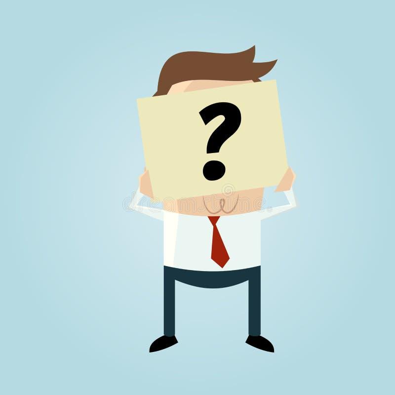 Geschäftsmann, der sein Gesicht hinter einer Fragezeichenanmerkung versteckt lizenzfreie abbildung