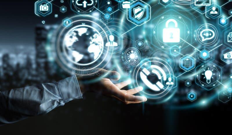 Geschäftsmann, der sein renderin der Datenpersönlichen information 3D schützt lizenzfreie abbildung