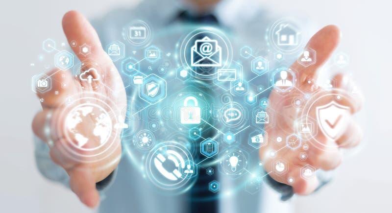 Geschäftsmann, der sein renderin der Datenpersönlichen information 3D schützt stock abbildung