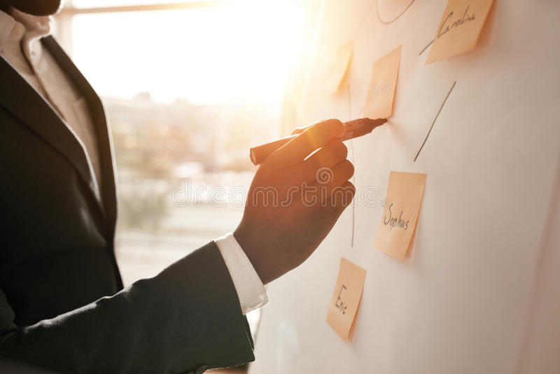 Geschäftsmann, der seine Ideen in weißes Brett einsetzt lizenzfreie stockfotografie