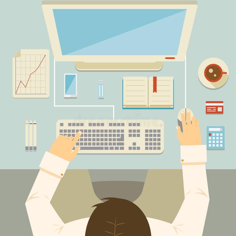 Geschäftsmann, der an seinem Schreibtisch arbeitet lizenzfreie abbildung