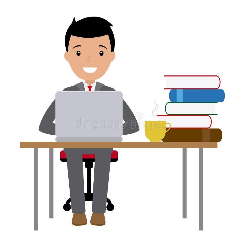 Geschäftsmann, der an seinem Schreibtisch sitzt lizenzfreie abbildung
