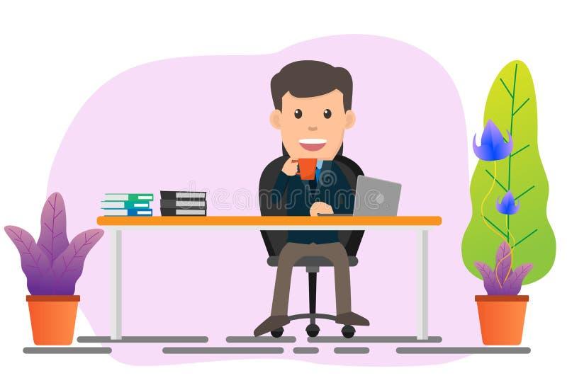 Geschäftsmann, der an seinem Schreibtisch sitzt und an Laptopvektorillustration arbeitet stock abbildung