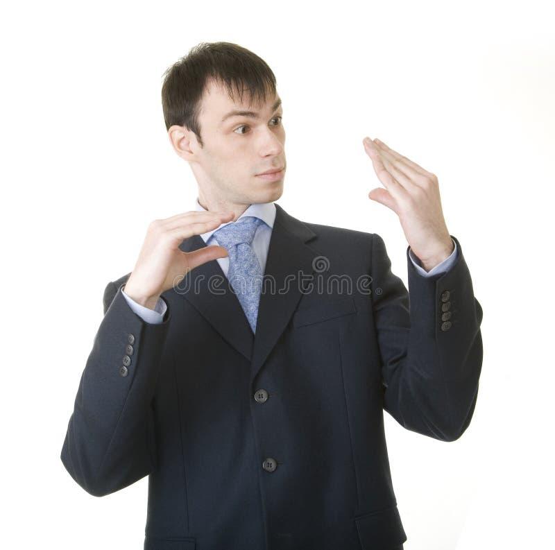 Geschäftsmann, der seins Gespräch mit Chef nachahmt lizenzfreies stockbild