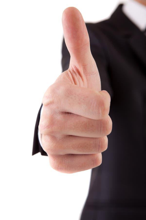 Geschäftsmann, der sich Daumen zeigt lizenzfreies stockbild