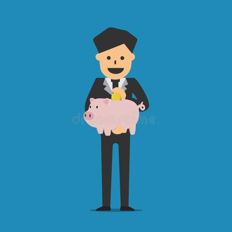 Geschäftsmann, der Sparschweineinsparungs-Geldkonzept hält vektor abbildung