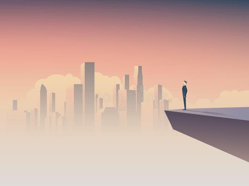Geschäftsmann, der Stadtbildvektorkonzept betrachtet Symbol der Geschäftsvision, Motivation, Erfolg stock abbildung