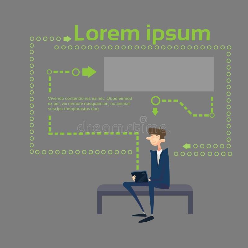 Geschäftsmann, der Tablet-Computer Sit On Coach Abstract Background verwendet stock abbildung