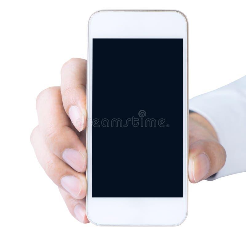 Geschäftsmann, der Telefon des leeren Bildschirms lokalisiert hält lizenzfreie stockfotografie