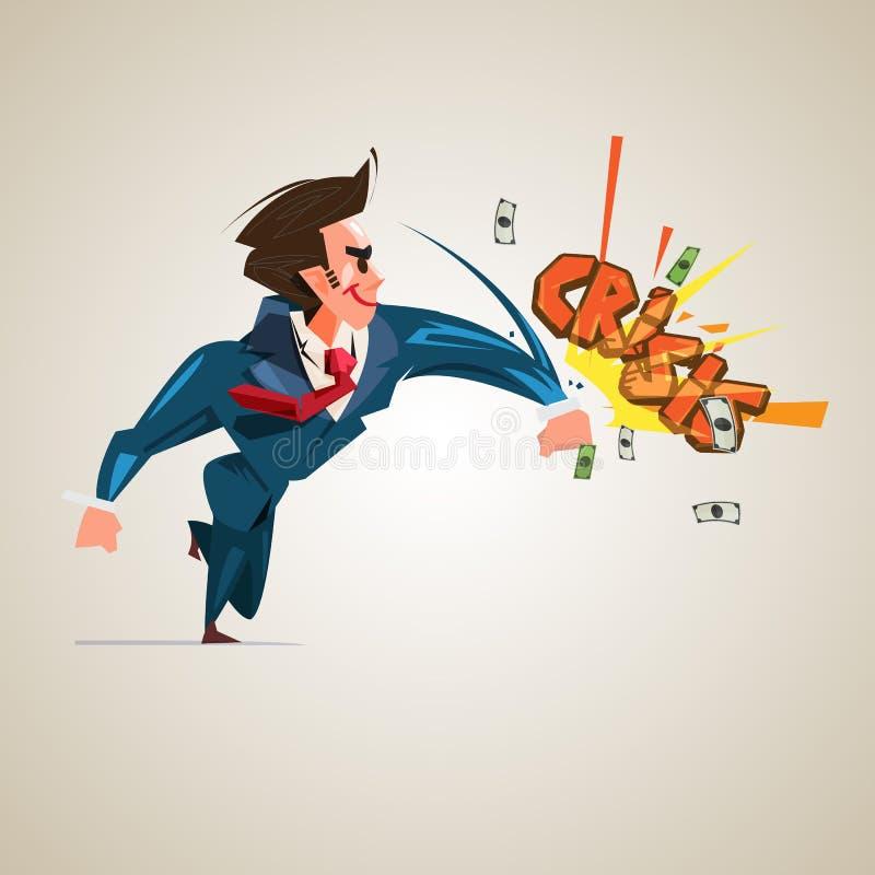 Geschäftsmann, der Text ` Krise ` Geschäft oder Finanzverwaltungskonzept schlägt lizenzfreie abbildung